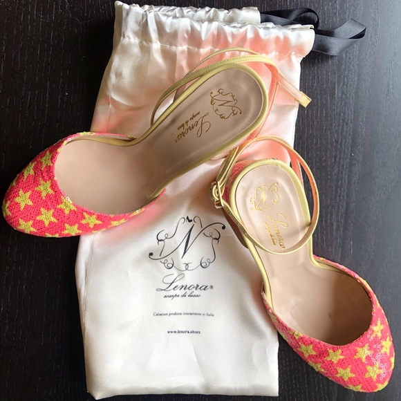 Anthropologie Shoes - Lenora Pink Sequin Star Heels from Anthropologie
